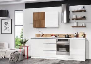 Kuchyňský blok Elza - 240 cm (bílá/bílá lesk, akácie/PD  tesoro b