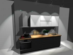 Kuchyňský blok Nina - 260 cm (bílo-šedá lesk)