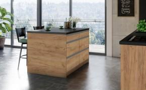 Kuchyňský ostrůvek Brick light 120x90 cm (černá, dub, stříbrná)