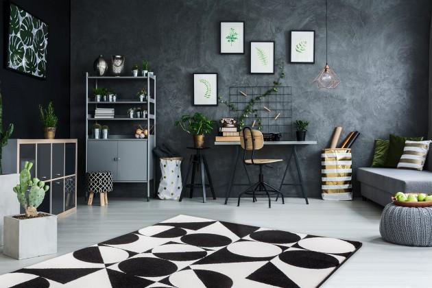 Kusové koberce Koberec Black & white (120x170 cm, černá)