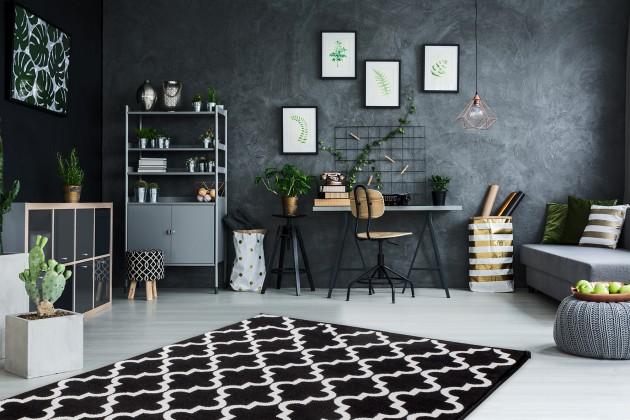 Kusové koberce Koberec Black & white (80x150 cm, černá)
