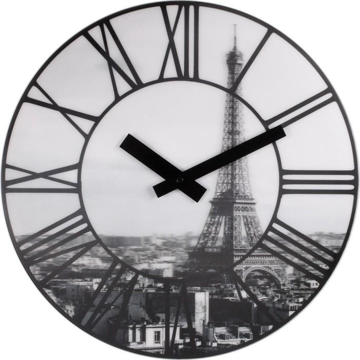 La Ville - hodiny, nástěnné, kulaté (plast, černé)