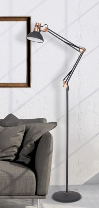 Lampy Stojací lampa Gareth, kovová, s pohyblivým ramenem, 172cm