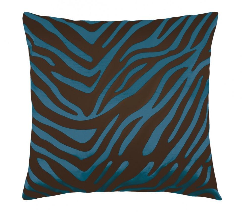 Leona - Polštářek 45x45cm (zebra tyrkys/hnědá)