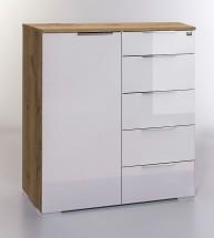 LevelUp D - Kombi komoda, 5x zásuvka, 1x dveře (bílá VL, dub)