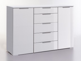 LevelUp D - Kombi komoda, 5x zásuvka, 2x dveře (bílá VL, bílá)