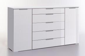 LevelUp D - Kombi komoda, 5x zásuvka + 2x dveře (bílá VL/bílá)