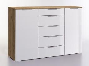 LevelUp D - Kombi komoda, 5x zásuvka, 2x dveře (bílá VL, dub)