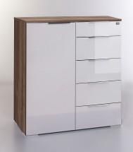 LevelUp D - Kombi komoda, 5xzásuvka, 1xdveře (bílá VL,dub muddy)