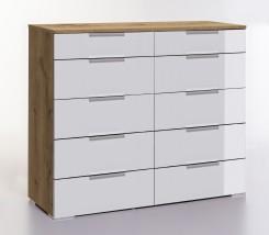 LevelUp D - Komoda, 10x zásuvka (bílá VL, dub planked)