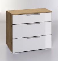 LevelUp D - Komoda, 3x zásuvka (bílá VL, dub planked)