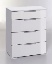 LevelUp D - Komoda, 4x zásuvka (bílá VL, bílá)
