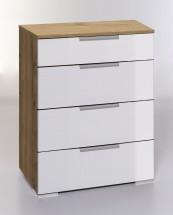 LevelUp D - Komoda, 4x zásuvka (bílá VL, dub planked)