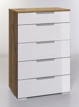 LevelUp D - Komoda, 5x zásuvka (bílá VL, dub planked)
