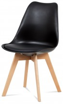 Lina - Jídelní židle černá, plast + eko kůže