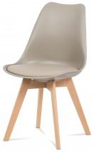 Lina - Jídelní židle latté, plast + eko kůže