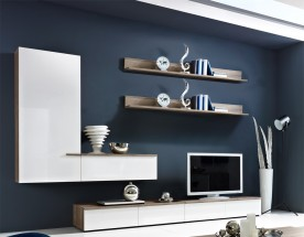 Linea - Obývací stěna (dub tmavý HN/bílá HG/ dub tmavý HN)