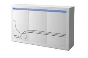 Lino - Komoda, tří dvéřová, LED osvětlení (bílá)