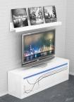 Lino - Nízká TV komoda, závěsná police, LED osvětlení (bílá)