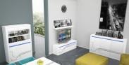 Lino - Obývací sestava, police, komoda, vitrína, komoda (bílá)