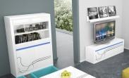 Lino Obývací sestava, police, komoda, vitrína, osvětlení (bílá)