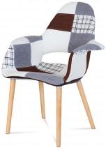 Lis - Jídelní židle s područkami (patchwork/natural)