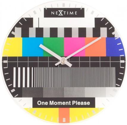 Little Testpage - hodiny, nástěnné, kulaté (sklo, barevné)