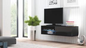 Livo - TV stolek 120 závěsný (černá mat/černá lesk)