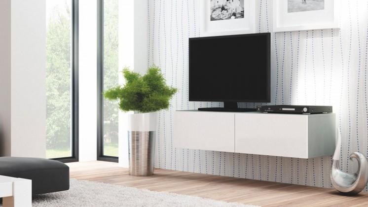 Livo - TV stolek 160 závěsný (šedá mat/bílá lesk)