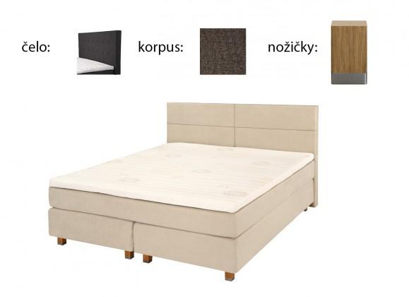 Ložnice ZLEVNĚNO Boxbed (180x200, HB city 125x186 - anthracit, nohy select dub)