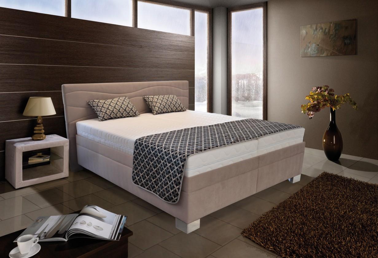 Ložnice ZLEVNĚNO Windsor - 200x180, výklopné rošty, matrace (amore 25 beige)