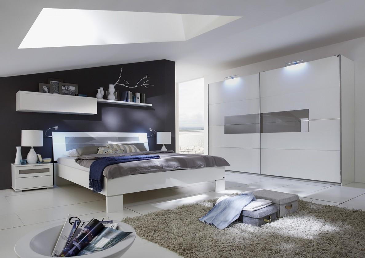 Ložnicový komplet Advantage - Komplet velký, postel 180 cm (alpská bílá/šedá)