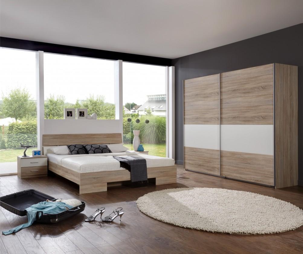Ložnicový komplet Alina - Komplet 10, postel 180 cm (dub, alpská bílá)