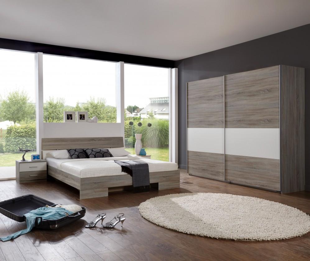 Ložnicový komplet Alina - Komplet 10, postel 180 cm (dub montana, alpská bílá)