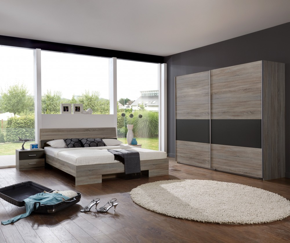 Ložnicový komplet Alina - Komplet 10, postel 180 cm (dub montana, lava černá)