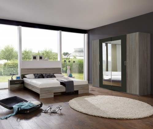 Ložnicový komplet Alina - Komplet 3, postel 160 cm (dub montana, lava černá)