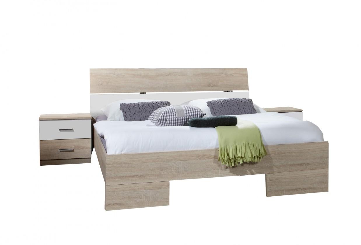 Ložnicový komplet Alina - Komplet 4, postel 180 cm (dub, alpská bílá)