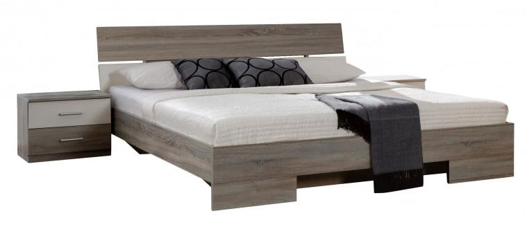 Ložnicový komplet Alina - Komplet 4, postel 180 cm (dub montana, alpská bílá)