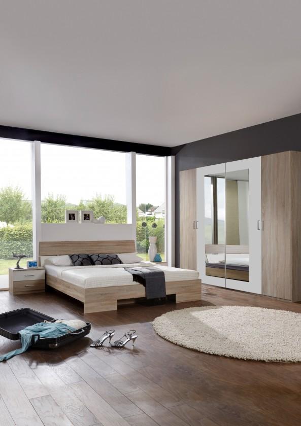 Ložnicový komplet Alina - Komplet 5, postel 140 cm (dub, alpská bílá)