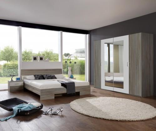 Ložnicový komplet Alina - Komplet 5, postel 140 cm (dub montana, alpská bílá)