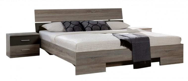 Ložnicový komplet Alina - Komplet 7, postel 160 cm (dub montana, lava černá)