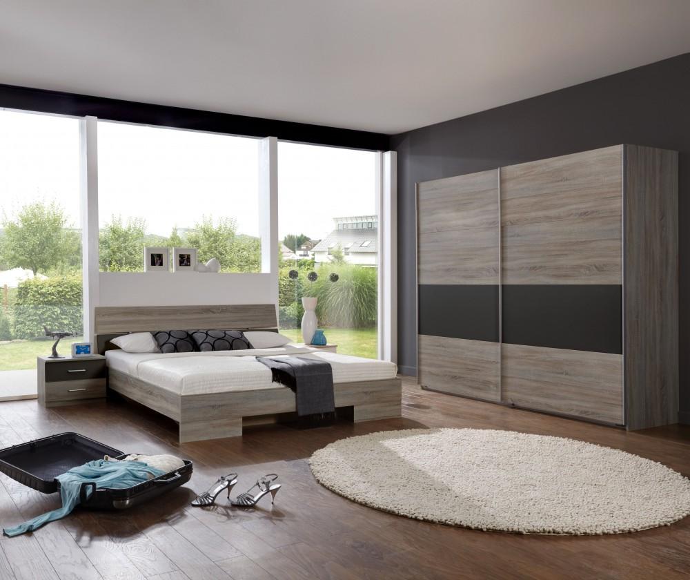 Ložnicový komplet Alina - Komplet 8, postel 160 cm (dub montana, lava černá)