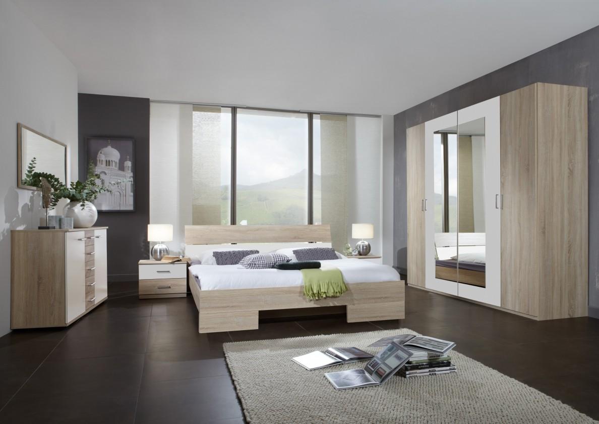 Ložnicový komplet Alina - Komplet 9, postel 180 cm (dub, alpská bílá)