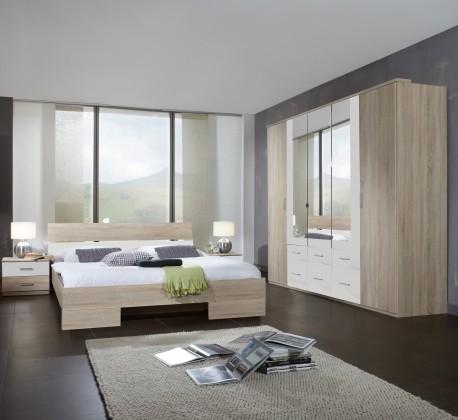 Ložnicový komplet Alina - Komplet, postel 180 cm (dub, alpská bílá)
