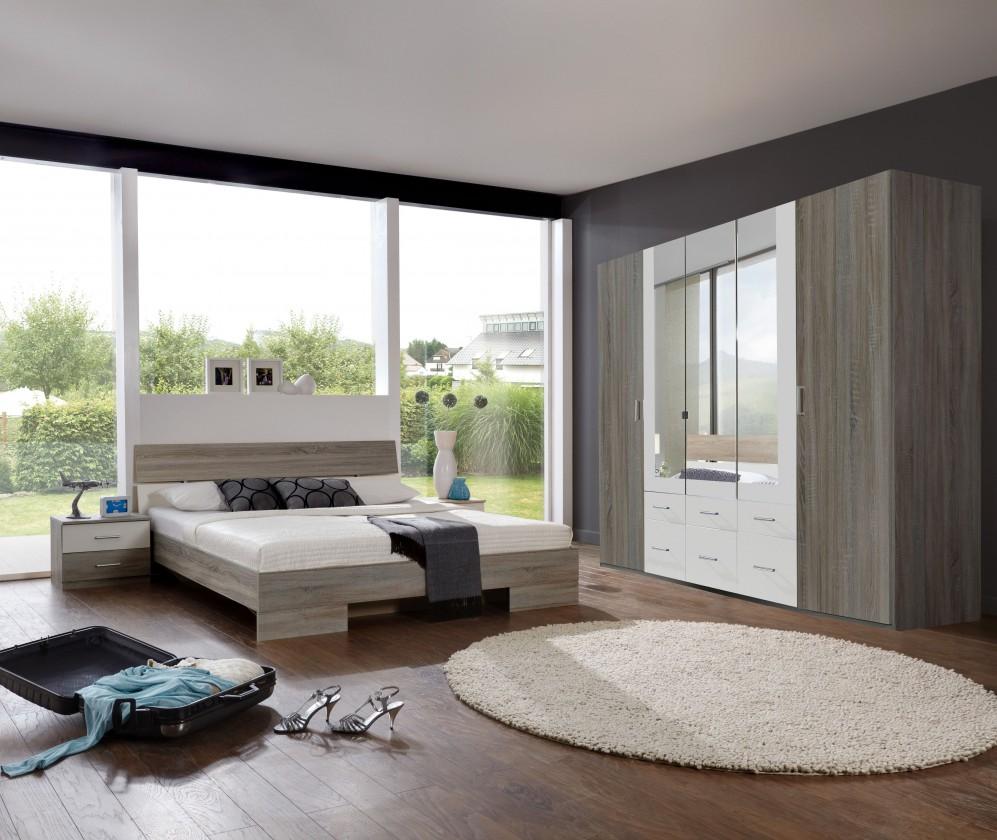 Ložnicový komplet Alina - Komplet, postel 180 cm (dub montana, alpská bílá)