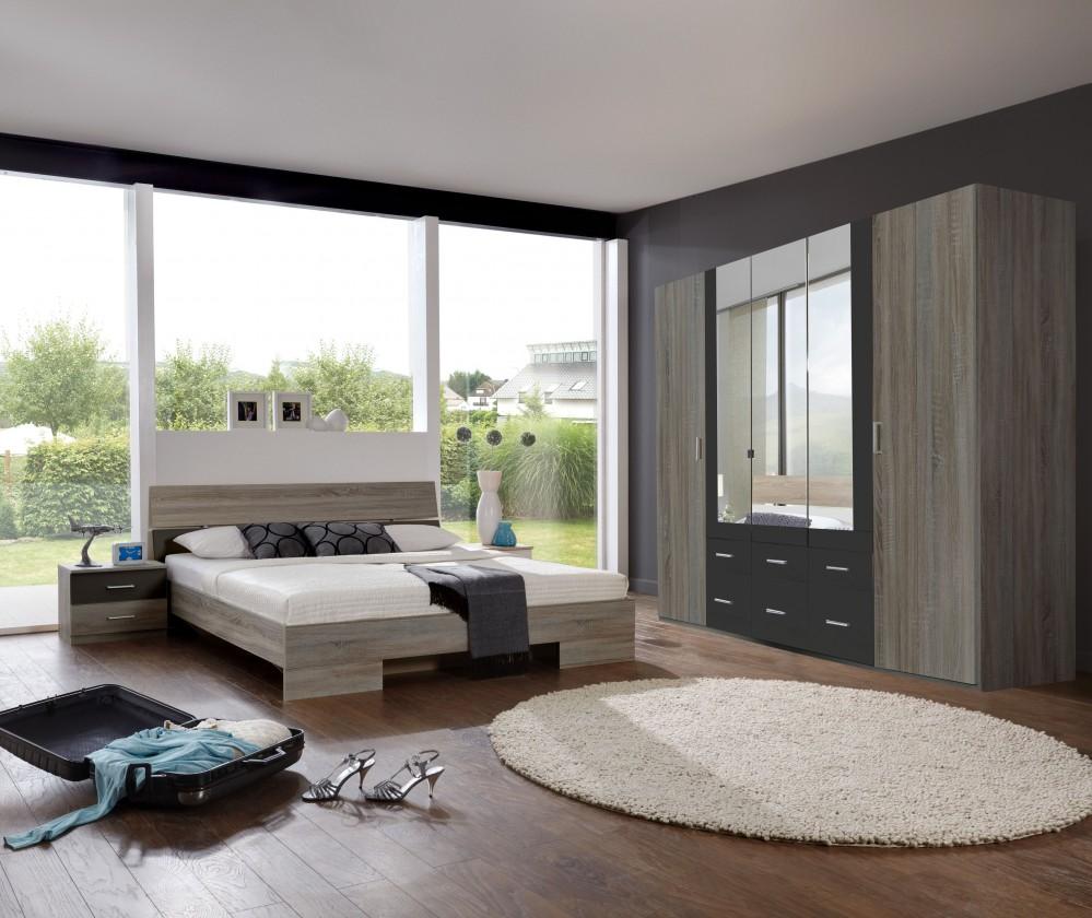 Ložnicový komplet Alina - Komplet, postel 180 cm (dub montana, lava černá)
