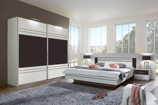 Ložnicový komplet Cascada - komplet, postel 160cm (alpská bílá, lava)