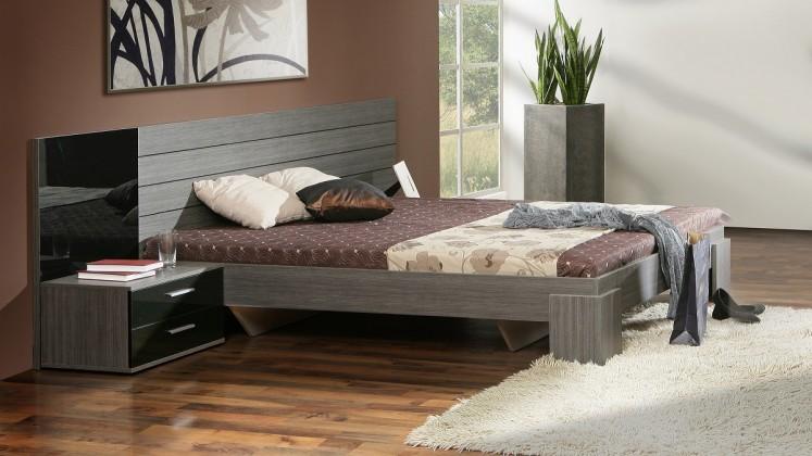 Ložnicový komplet Cellini - komplet, postel 160cm (černý lesk, šedý dub)