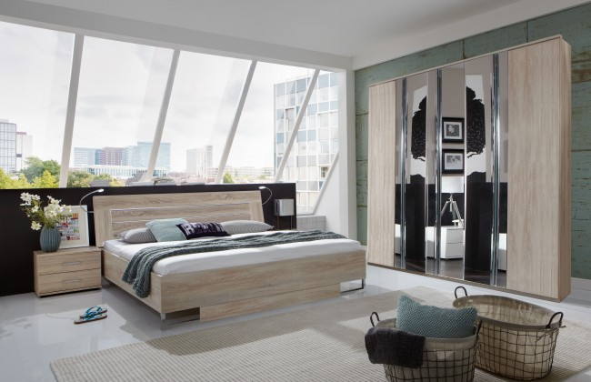 Ložnicový komplet Davos - Komplet, postel 180 cm (dub)