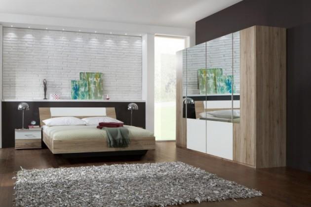 Ložnicový komplet Dora - komplet, postel 160cm (dub, zrcadlo, alpská bílá)